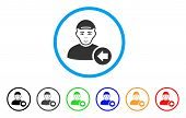 Previous Man Rounded Icon. Style Is A Flat Previous Man Grey Symbol Inside Light Blue Circle With Bl poster