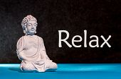 Relaxed Buddha Figurine Sitting And Meditating, Doing Yoga Exersice. Relax - Inscription. poster