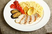 Grilled Chicken With Slices, With Vegetables, Bulgur On A White Plate. Low-calorie, Dietary Food For poster