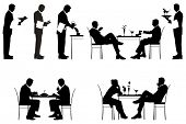 Silhouette of couples and a waiters. Illustration.
