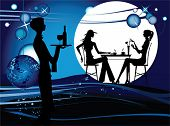 Two women in the cafe. Silhouette of the couple in the cafe, vector illustration