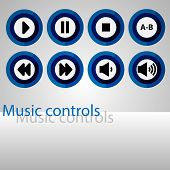 Set Of Music Control Buttons. Colorful Round Control Buttons For The Player. Media Content Managemen poster