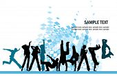 stock photo of musical scale  - Everyone dancing and having fun - JPG