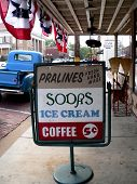 picture of ice-cream truck  - vintage sign outside of a soda fountain - JPG