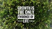 Motivational And Inspirational Quotes - Growth Is The Only Evidence Of Life. With Blurred Styled Bac poster