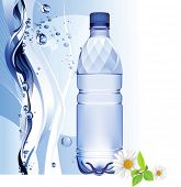 Water bottle. All elements and textures are individual objects. Vector illustration scale to any siz