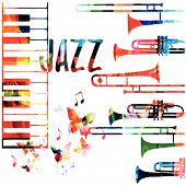 Jazz Music Colorful Background. Jazz Music Festival Poster. Word Jazz With Saxophone And Piano Keybo poster
