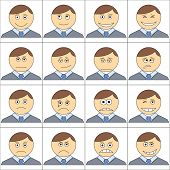 image of sad man  - Set of the smilies symbolizing various human emotions - JPG