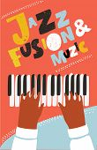 Vector Colorful Live Concept Of Modern Music Poster With Illustration Of Human Hands Playing On Pian poster