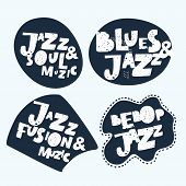Jazz Typographic Vector Expression Illustration Background Stickers. Music Hand Drawn Lettering Comp poster