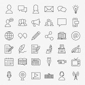 Blog Line Icons Set. Vector Thin Outline Social Media Symbols. poster