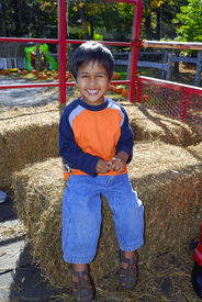 pic of hayride  - An handsome indian kid having fun with hay ride - JPG