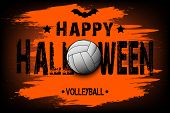 Halloween Pattern. Happy Halloween And Volleyball Ball. Volleyball Logo Template Design. Design Patt poster