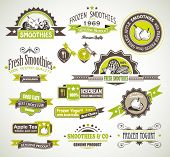 Premium quality collection of Fruits Smoothies, Tea and frozen yogurt labels with different styles a