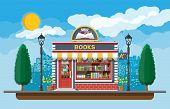 Bookstore Shop Exterior. Books Shop Brick Building poster