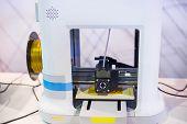White Three Dimensional Printing Machine Printing 3d Plastic Model. 4.0 Industrial Revolution, Addit poster