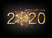 2020 New Year Background. Holiday Label With Fallen Golden Glitter Confetti Over Black Backdrop. Cal poster