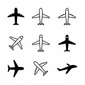 Set Of Airplane Icon Vector Isolated On White Background. Airplane Icon Vector Collection. Airplane  poster