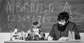 Happy Teachers Day. School Knowledge. Teacher Bearded Man And Boy Chemical Laboratory. Knowledge Day poster