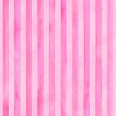 Watercolor Pink Stripes On Pink Background. Striped Seamless Pattern. Watercolour Hand Drawn Stripe  poster