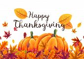 Happy Thanksgiving Background With Stylized Autumn Leaves. poster