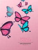 Breast Cancer Awareness Banner Illustration Of Beautiful Pink Butterfly Group. Feminine Design For W poster