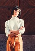 Girl Makeup Face Fashion Trend Matching Clothes. Stylist Fashion Expert. High Waisted Trousers Keep  poster