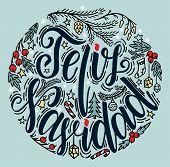 Spanish Merry Christmas Greeting Card On White Background. Feliz Navidad Vector Illustration poster