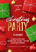 Merry Christmas Party Flyer. Holiday Poster With Realistic Red And Green Gift Boxes, Christmas Red A poster