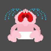 Crying Baby Pixel Art. 8 Bit Little Child Cry. Vector Illustration poster