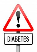 pic of diabetes symptoms  - Illustration depicting a red and white triangular warning sign with a diabetes concept - JPG