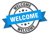 Welcome Label. Welcome Blue Band Sign. Welcome poster