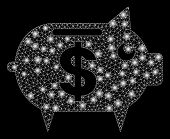 Flare Mesh Piggy Bank With Lightspot Effect. Abstract Illuminated Model Of Piggy Bank Icon. Shiny Wi poster