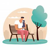Simple Cartoon Man At Park Playing With His Pet. Guy At Bench With His Dog. Flat Illustration Of Peo poster