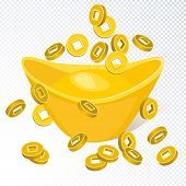 Chinese Golden Ingot  And Falling Chinese Coins Isolated On Transparent Background. Chinese Gold Ing poster