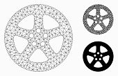 Mesh Wheel Cover Model With Triangle Mosaic Icon. Wire Carcass Polygonal Mesh Of Wheel Cover. Vector poster