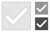 Mesh Valid Tick Model With Triangle Mosaic Icon. Wire Carcass Polygonal Mesh Of Valid Tick. Vector M poster