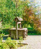 Water Well In Summer Village Scene. Village Water Well View. Water Well Scene. Rural Water Well poster