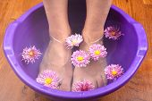 Beauty Flowers In The Bath For Rejuvenating And Healing Feet Closeup. poster