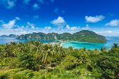 stock photo of koh phi-phi  - Tropical island with resorts  - JPG