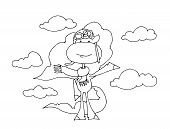 Coloring Book For Kids - Unicorn - Pilot On The Background Of Clouds. Black And White Cute Cartoon U poster