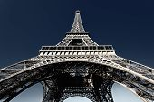 stock photo of ironworker  - famous Eiffel tower with blue sky in Paris - JPG