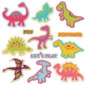 Scrapbook Design Elements - ?ute Dinosaur Set - in vector