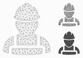 Mesh Worker Model With Triangle Mosaic Icon. Wire Carcass Polygonal Mesh Of Worker. Vector Mosaic Of poster