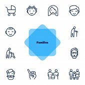 Families Line Icon Set. Set Of Line Icons On White Background. Family Concept. Girl, Stroller, Old M poster