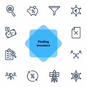 Finding Investors Line Icon Set. Portfolio, Piggy Bank, Percentage. Business Concept. Can Be Used Fo poster