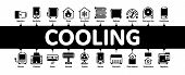 Heating And Cooling Minimal Infographic Web Banner Vector. Cool And Humidity, Airing, Ionisation And poster
