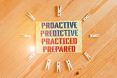 Writing Note Showing Proactive Predictive Practiced Prepared. Business Photo Showcasing Preparation  poster