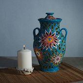 Ceramic Vase - A Lamp. A Candle Is Inserted Inside. Handmade Ceramic Glazed Vase poster