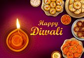 Illustration Of Burning Diya And Indian Sweet On Happy Diwali Hindu Holiday Background For Light Fes poster